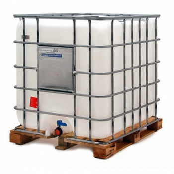 Reconditioned transparent container IBC 1000 L, with UN, wood pallet