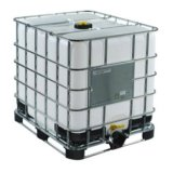 Reconditioned transparent container IBC 1000 L, with UN version plastic-hybrid pallet